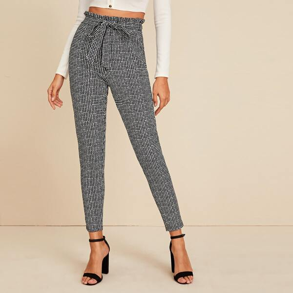 Houndstooth Self Tie Paperbag Waist Pants, Black and white