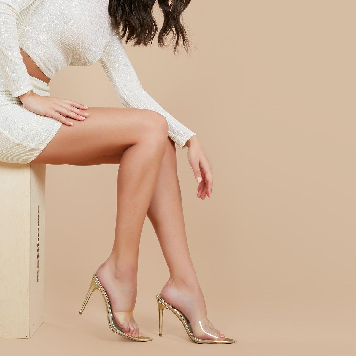Заостренный носок с прозрачным ремешком на каблуках от SHEIN
