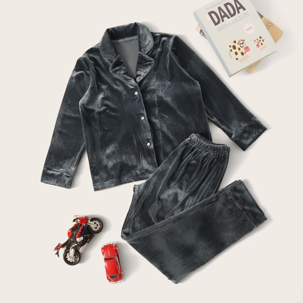 Boys Button-up Velvet PJ Set, Grey