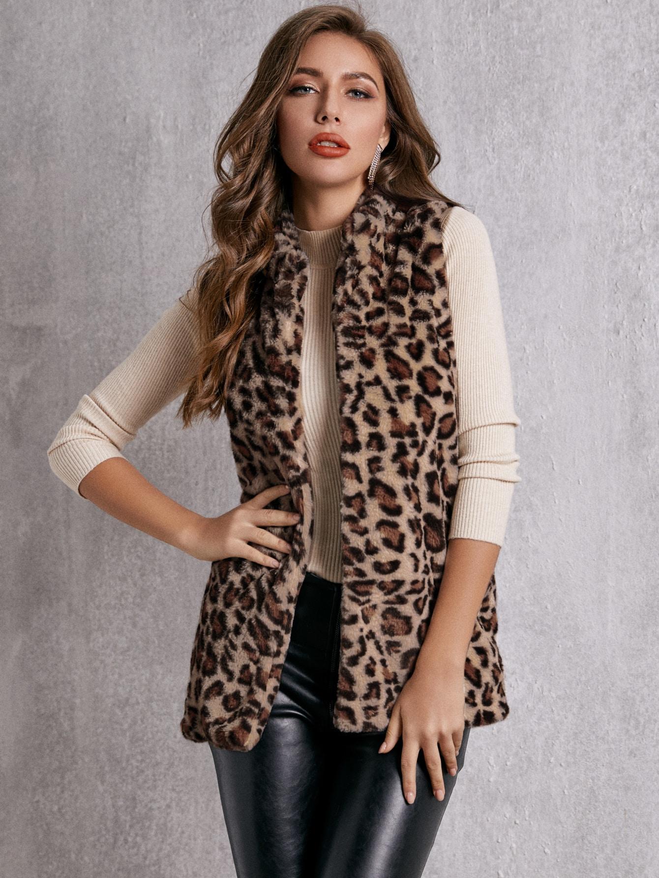 SBetro леопардовое пальто-жилет из искусственного меха