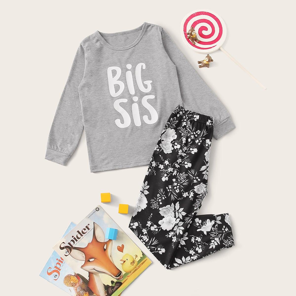 Пижама с цветочным принтом для девочек от SHEIN