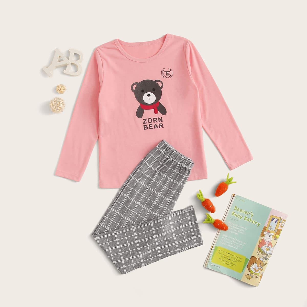 Пижама в клетку с мультяшным принтом для девочек от SHEIN