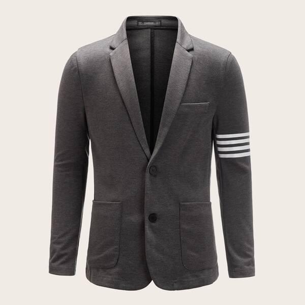 Men Single Breasted Double Pocket Striped Blazer, Grey