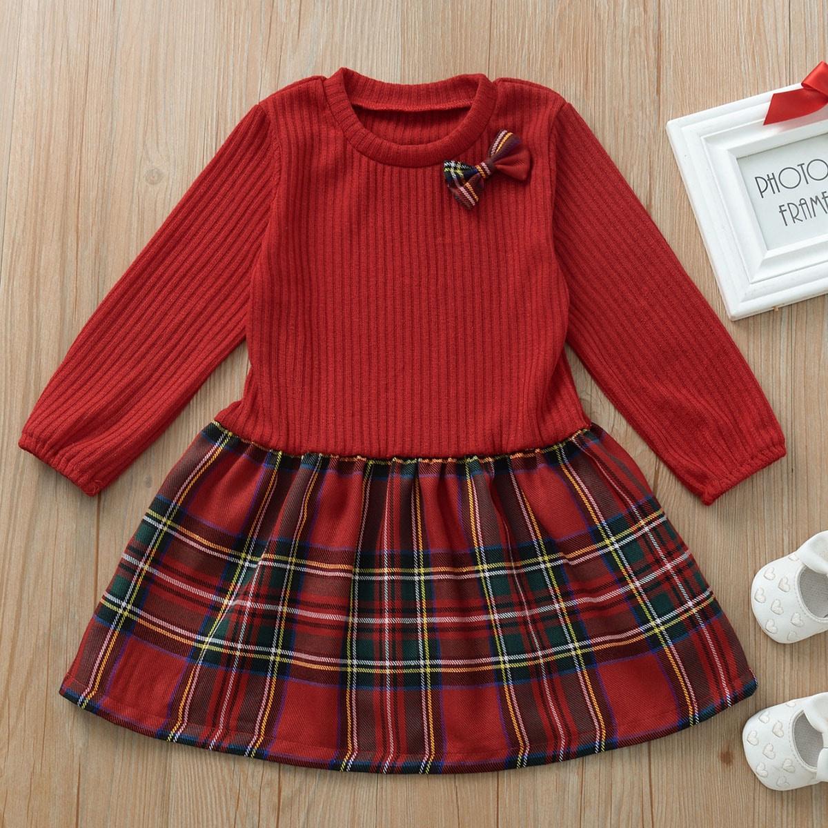 Платье в клетку и рубчик с бантом для девочек от SHEIN