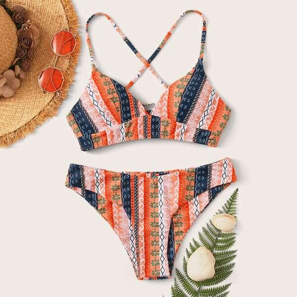 Geo Random Print Lace-up Back Bikini Set, Multicolor