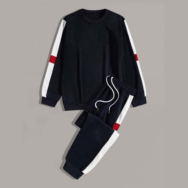 Men Tape Side Sweatshirt & Drawstring Sweatpants, Navy