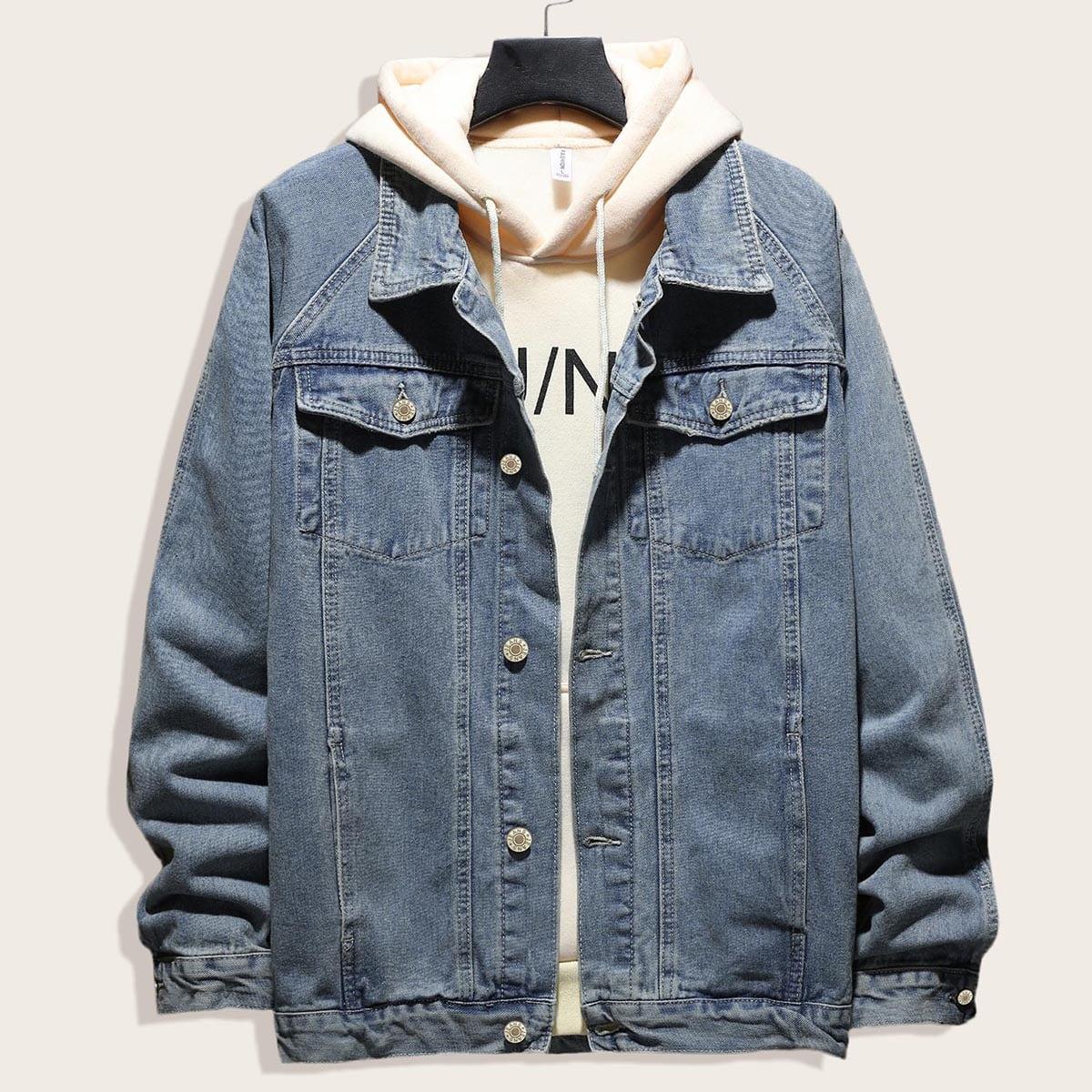 Blauw Casual Vlak Heren Jeans jassen Knoop