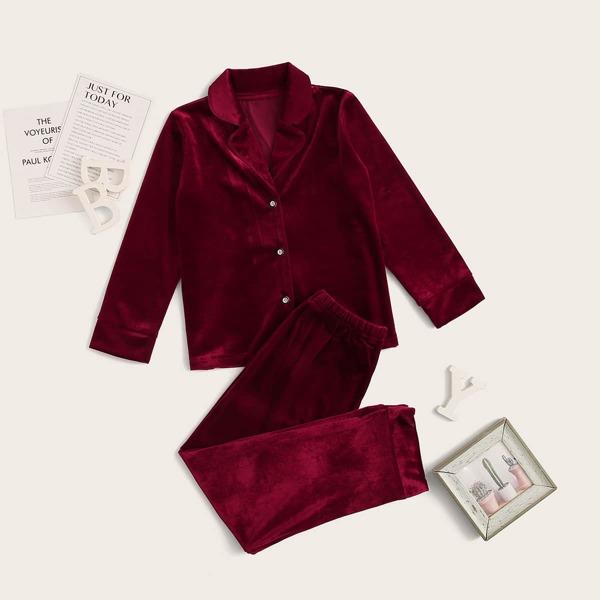 Girls Button-up Velvet PJ Set, Burgundy