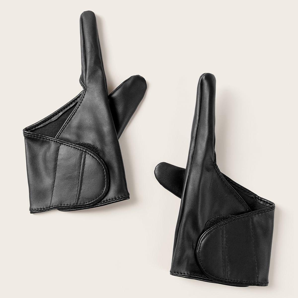 1 paar PU-handschoenen met klittenband