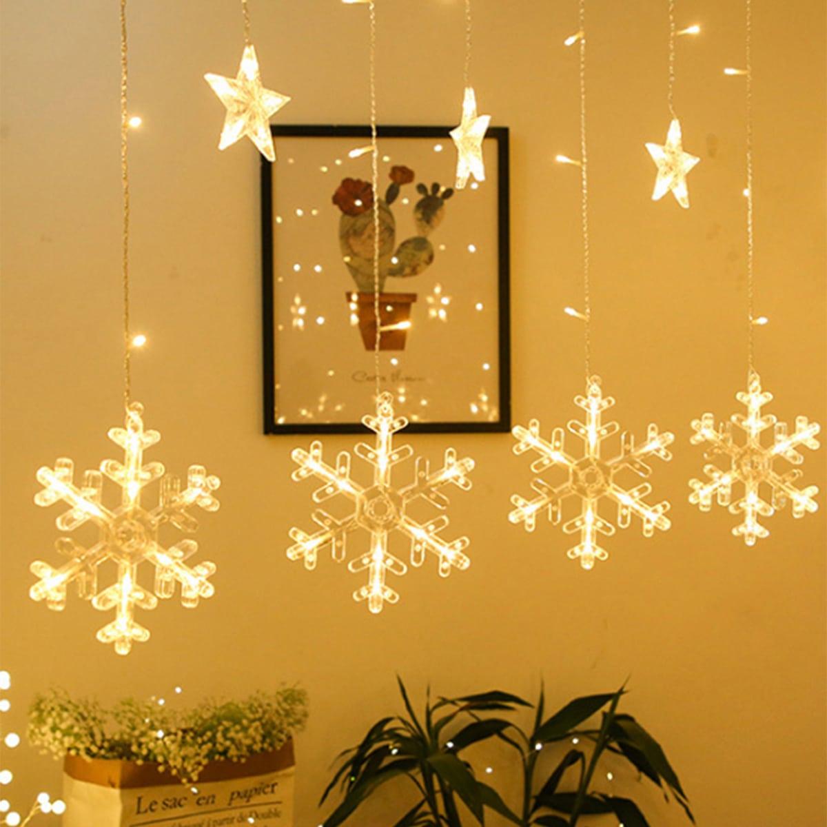 12 stks Star & Snowflake Bulb Gordijn String Light
