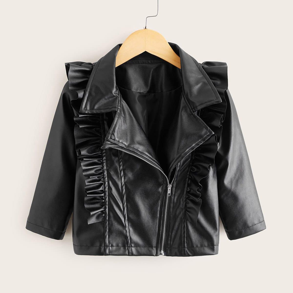 Байкерская куртка из искусственной кожи с молнией для девочек от SHEIN