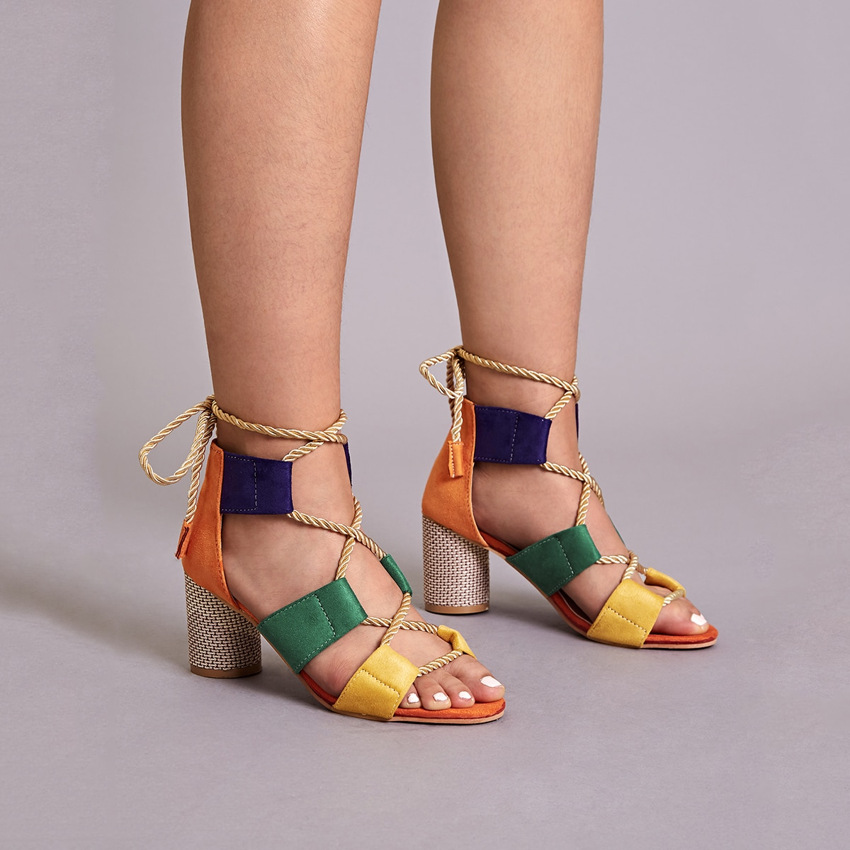 SHEIN / Color Block Lace-up Back Chunky Heels
