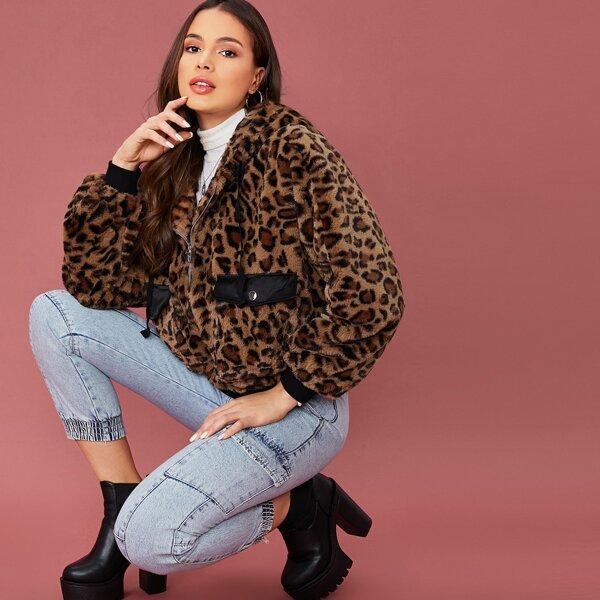 Zip Up Flap Pocket Front Hooded Leopard Faux Fur Coat, Multicolor