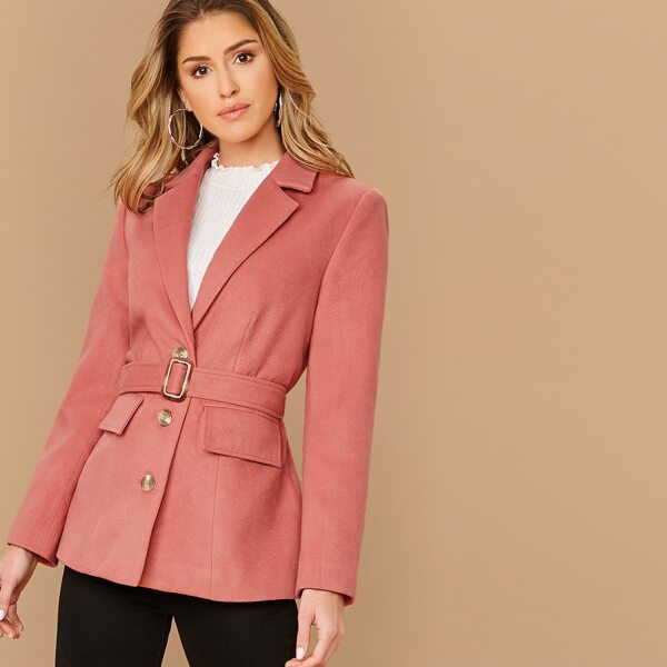 Notched Collar Single Breasted Belted Blazer, Pink