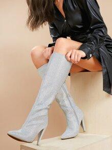 Stiletto   Crystal   Knee   Boot   Heel   High   Toe