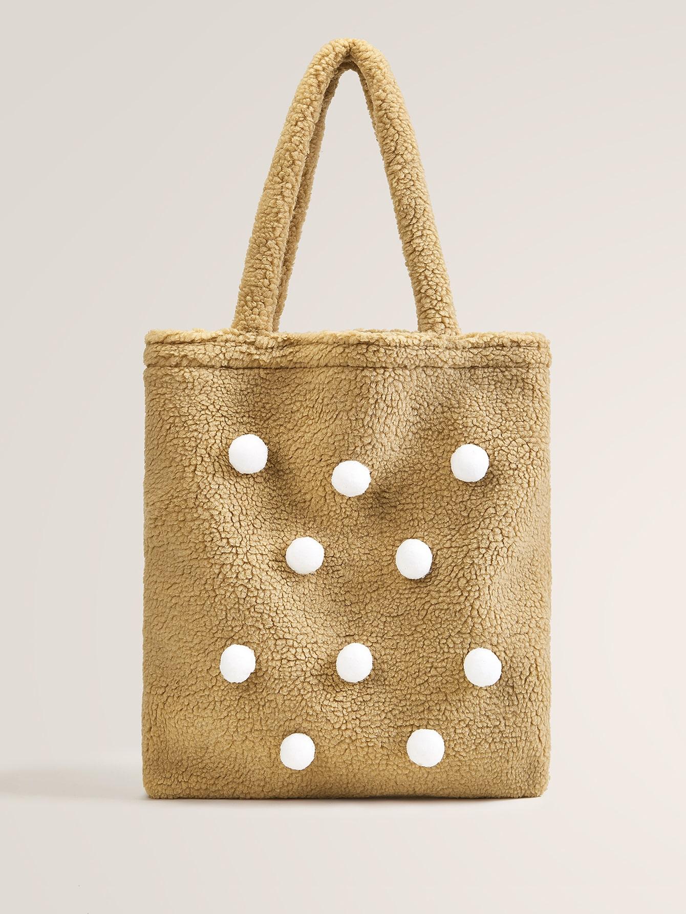 Плюшевая сумка-тоут с помпоном