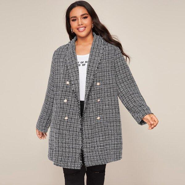 Plus Double Breasted Shawl Collar Tweed Coat, Grey