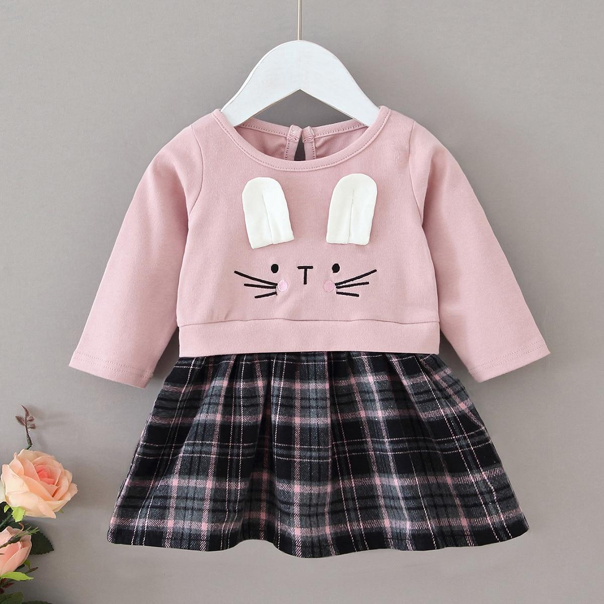 Платье в клетку в форме уха кролика3 D для девочек от SHEIN