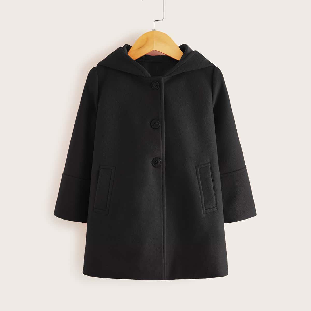 Одноборное пальто с капюшоном для девочек от SHEIN