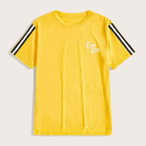 Men Side Stripe Letter Graphic Tee, Yellow bright
