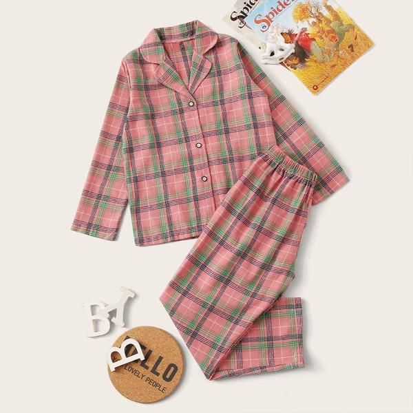 Girls Plaid Button-up PJ Set, Pink