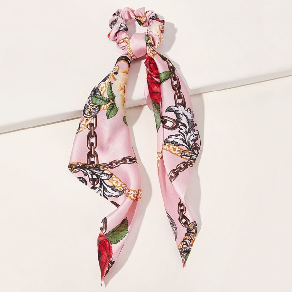 Ditsy Floral & Chain Pattern Scrunchie Scarf, Multicolor