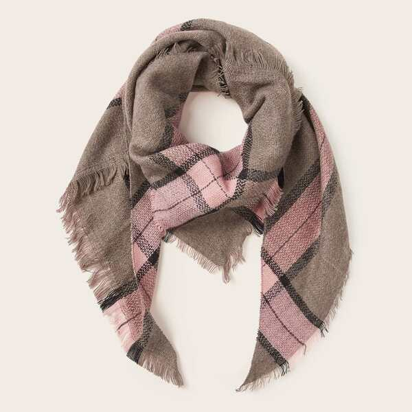 Plaid Raw Hem Scarf, Multicolor
