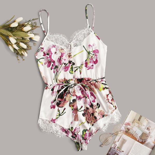 Floral Print Lace Trim Satin Romper Bodysuit, Multicolor