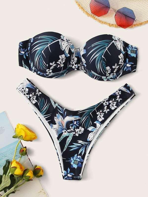 Floral Random Print Bandeau With High Cut Bikini, Multicolor