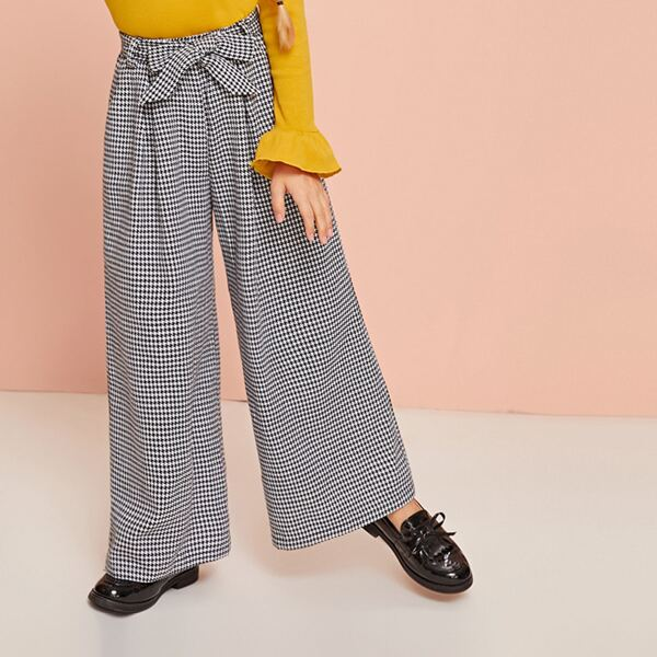 Girls Self Belted Wide Leg Houndstooth Pants, Black and white