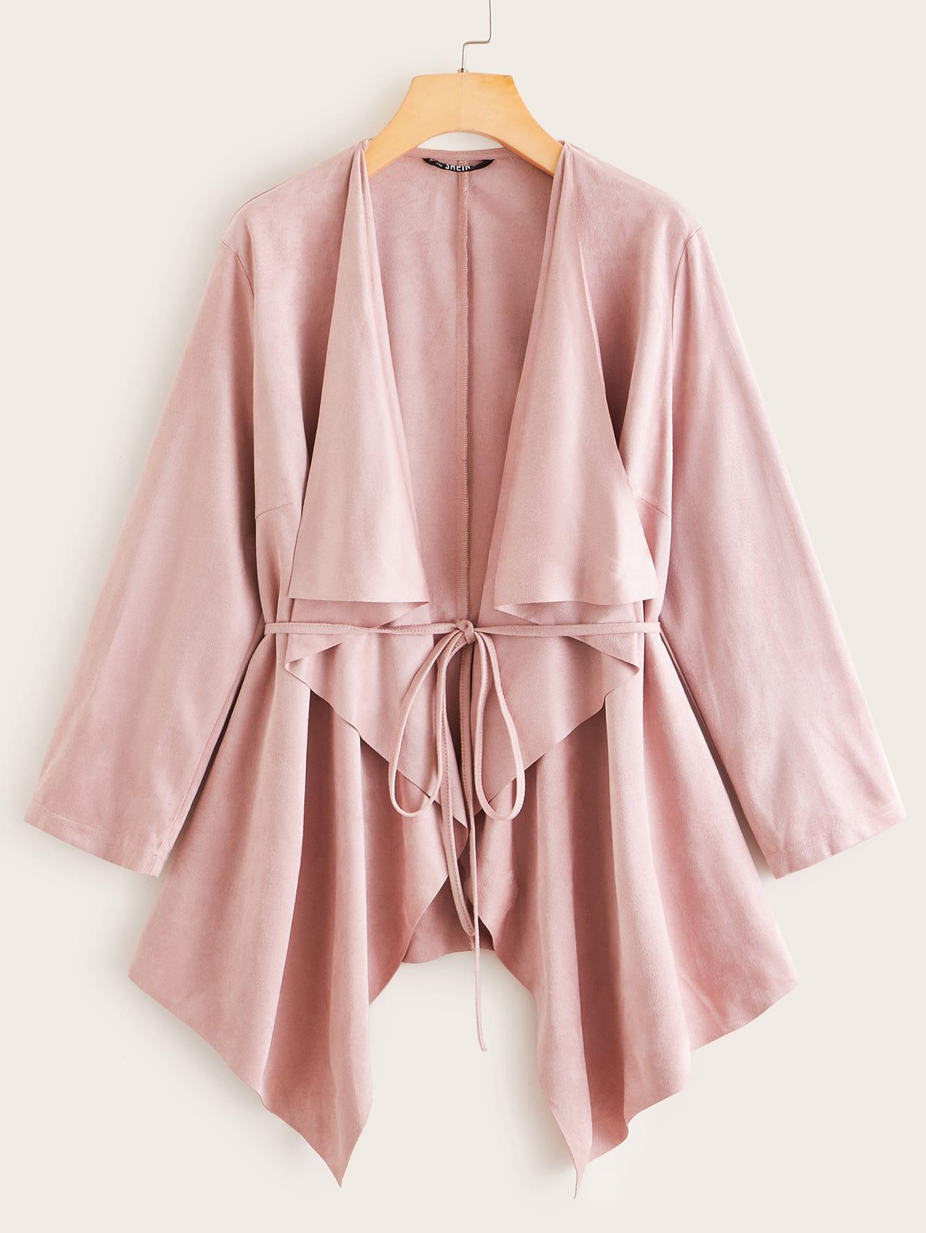 Асимметричное замшевое пальто с поясом