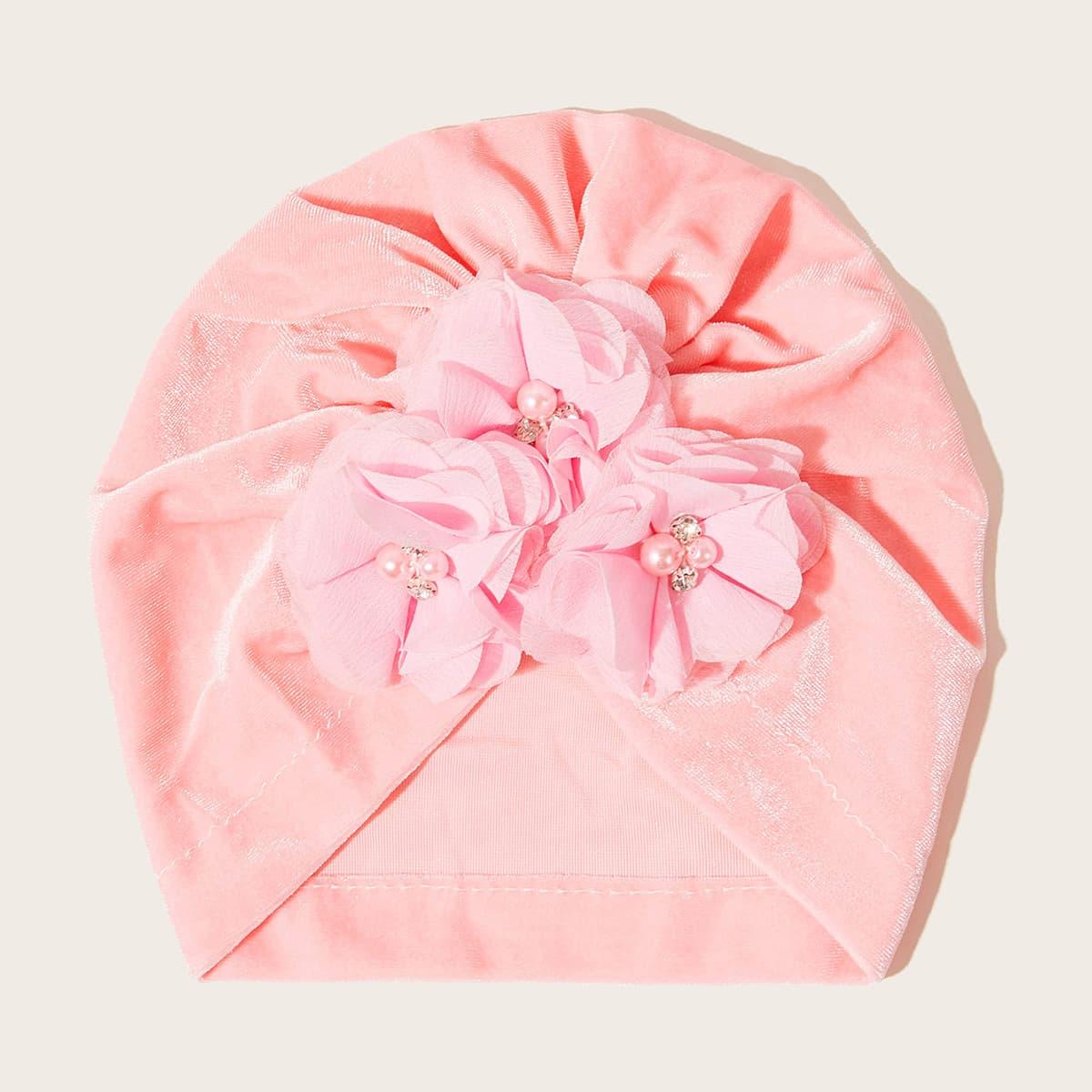 Baby Flower Decor Tulband hoed