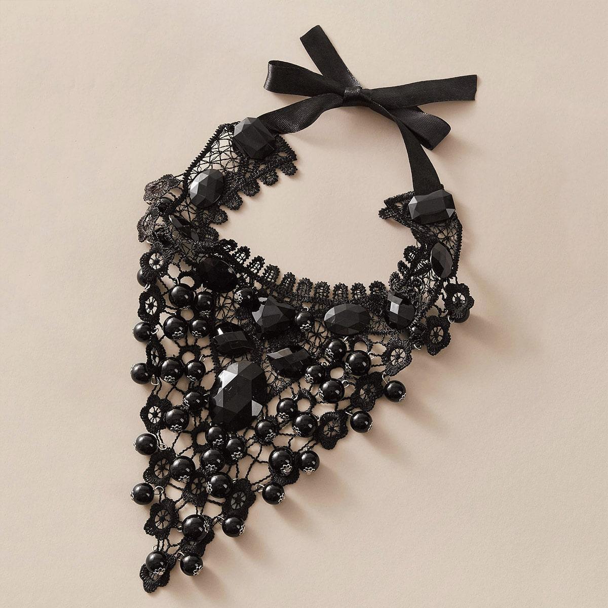 Ожерелье с бусами и кружевным декором 1шт от SHEIN