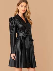 Leather   Collar   Coat   Belt