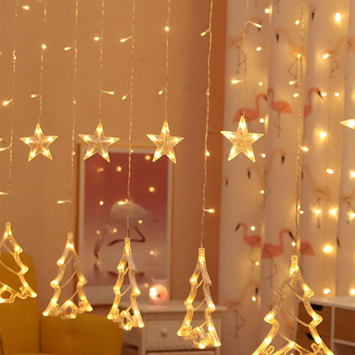 12 stks Star & Tree Shaped Bulb Curtain String Light