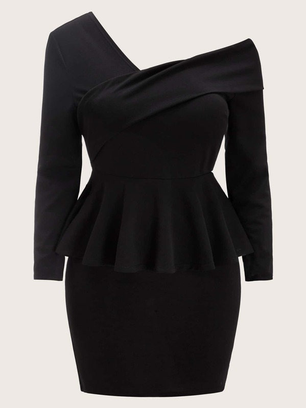Plus Asymmetrical Neck Peplum Dress, Black, Faith Bowman