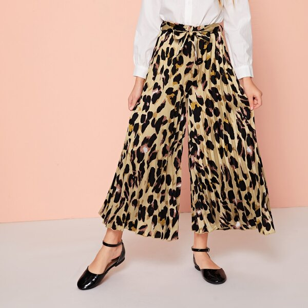Girls Allover Print Self Belted Pleated Wide Leg Pants, Multicolor