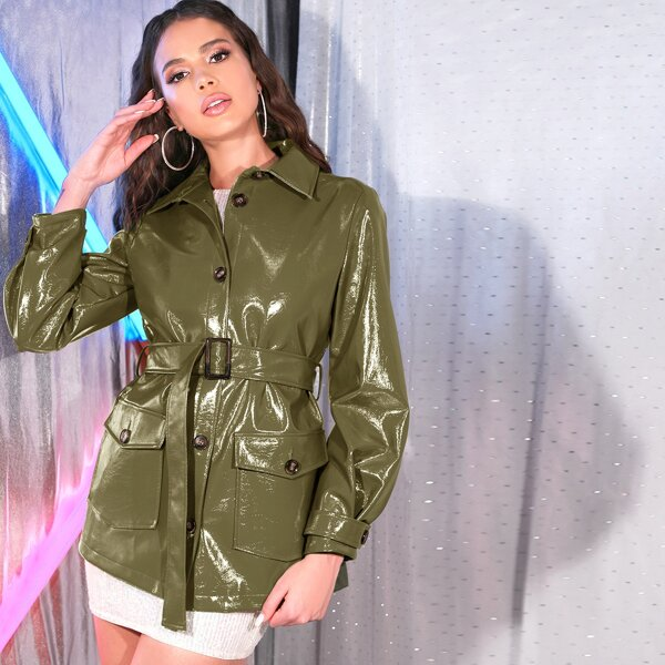 Flap Pocket Detail Buckle Belted Faux Patent Coat, Army green