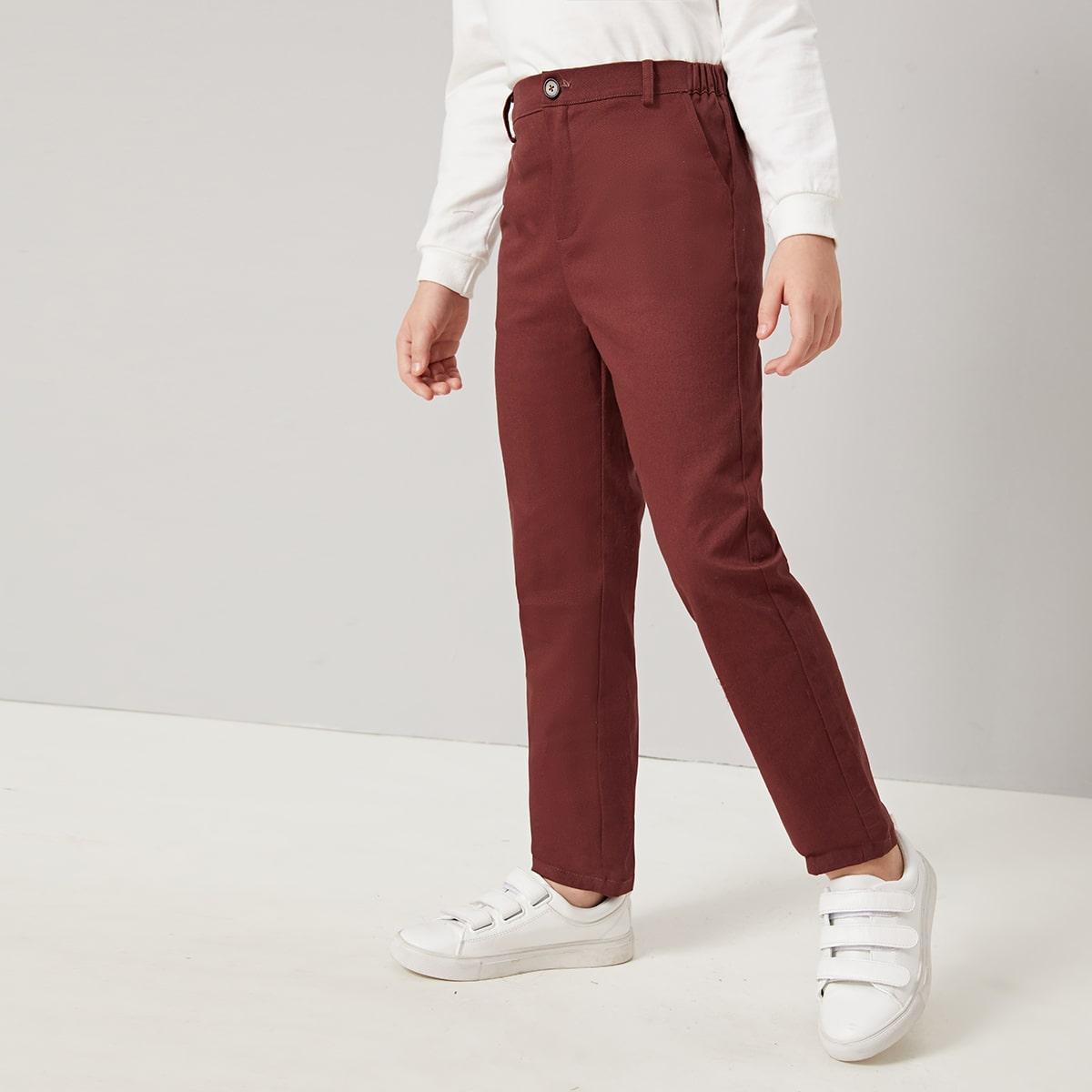 Однотонные брюки с карманом для мальчиков от SHEIN