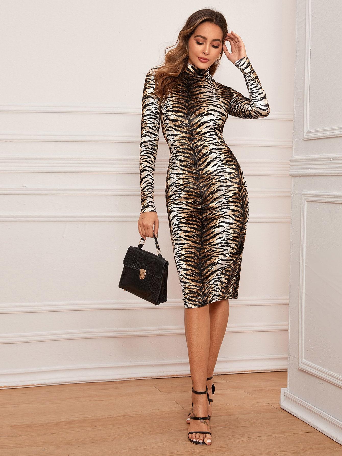 Тигровое полосатое бархатое платье-карандаш
