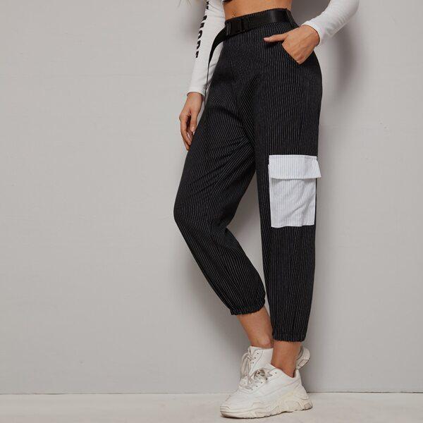 Striped Pocket Side Belted Joggers, Black