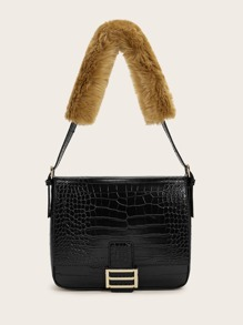 Handle | Croc | Tote | Faux | Fur | Bag