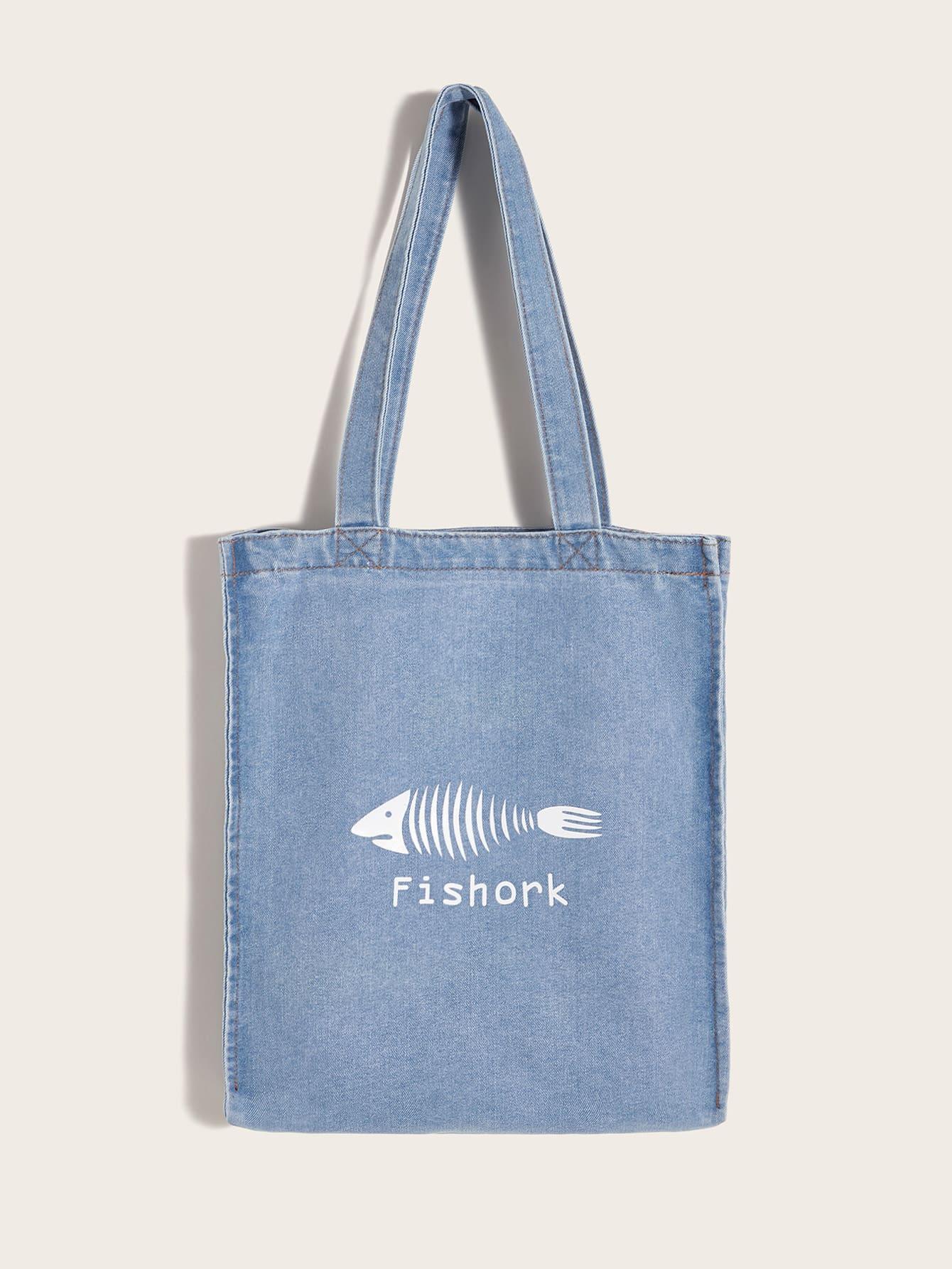 Джинсовая сумка-тоут с принтом рыбы