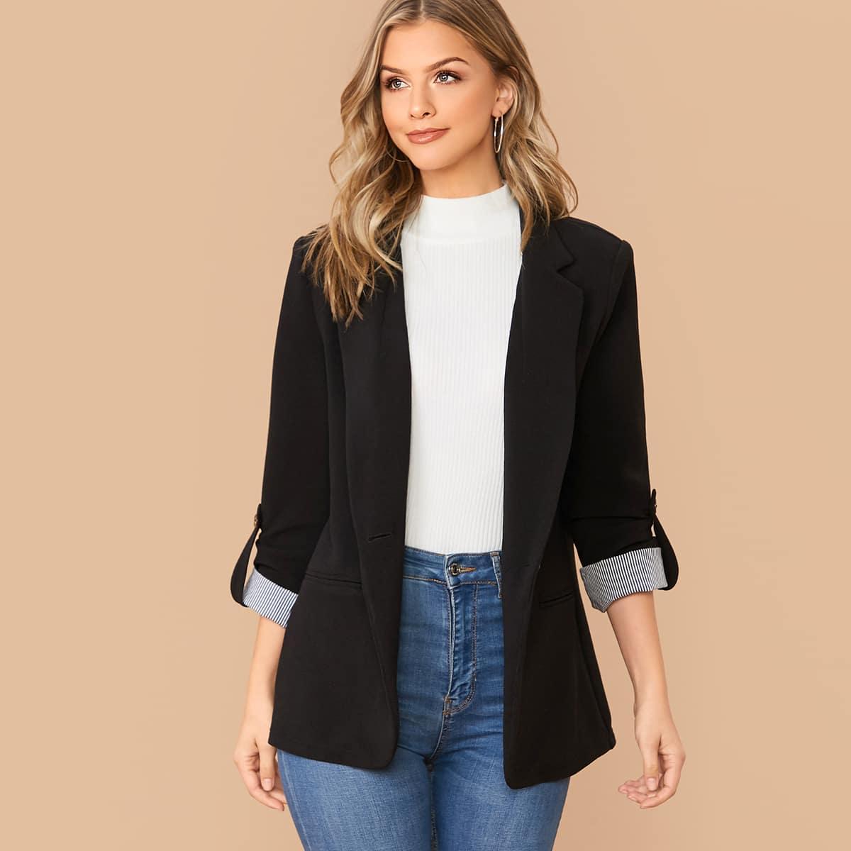 Пиджак с оригинальым рукавом от SHEIN