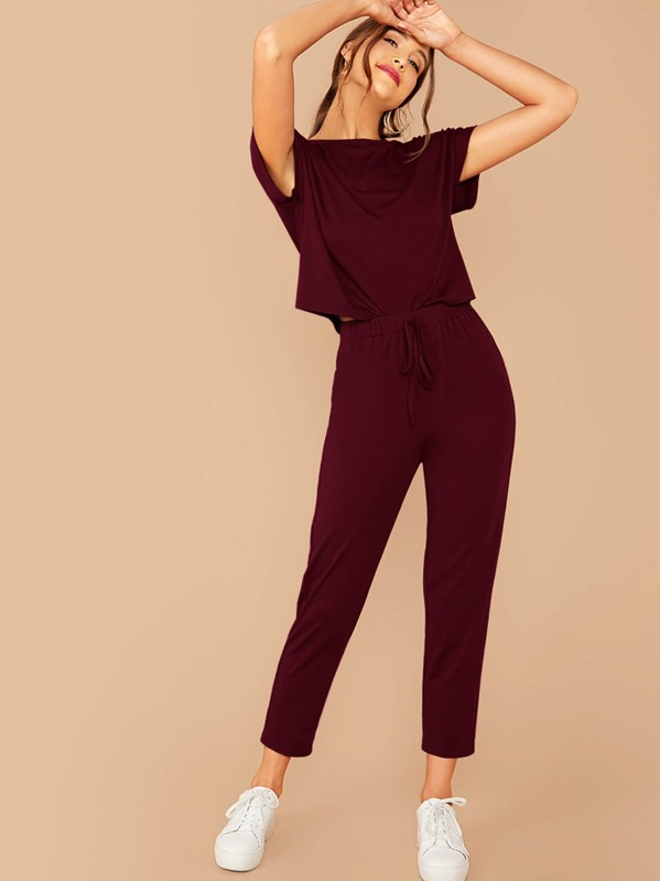 Short Sleeve Top & Tie Front Pants Set, Burgundy, Anna Herrin