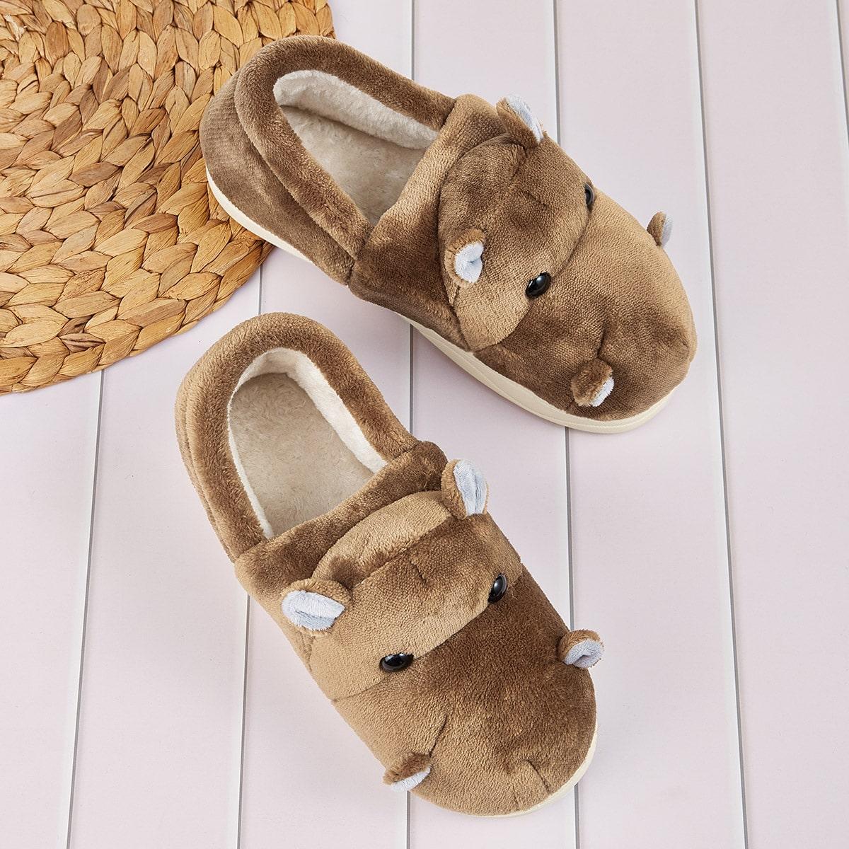SHEIN / Men Hippo Design Fuzzy Slippers