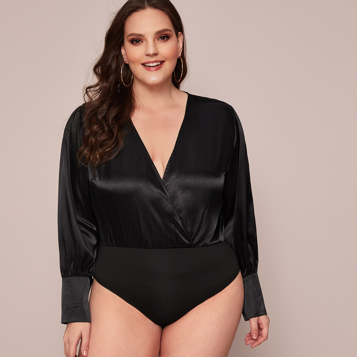Zwart Elegant Vlak Bodysuits grote maten