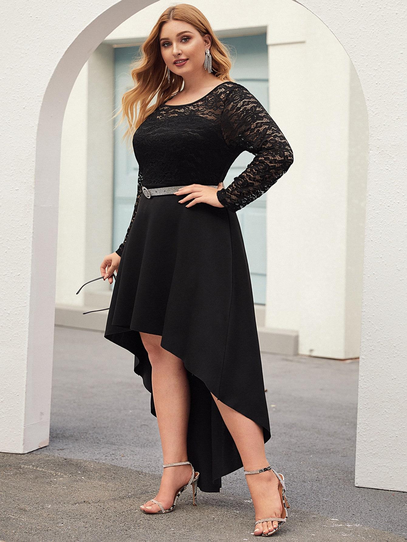 Асимметричное платье размера плюс с кружевом без пояса