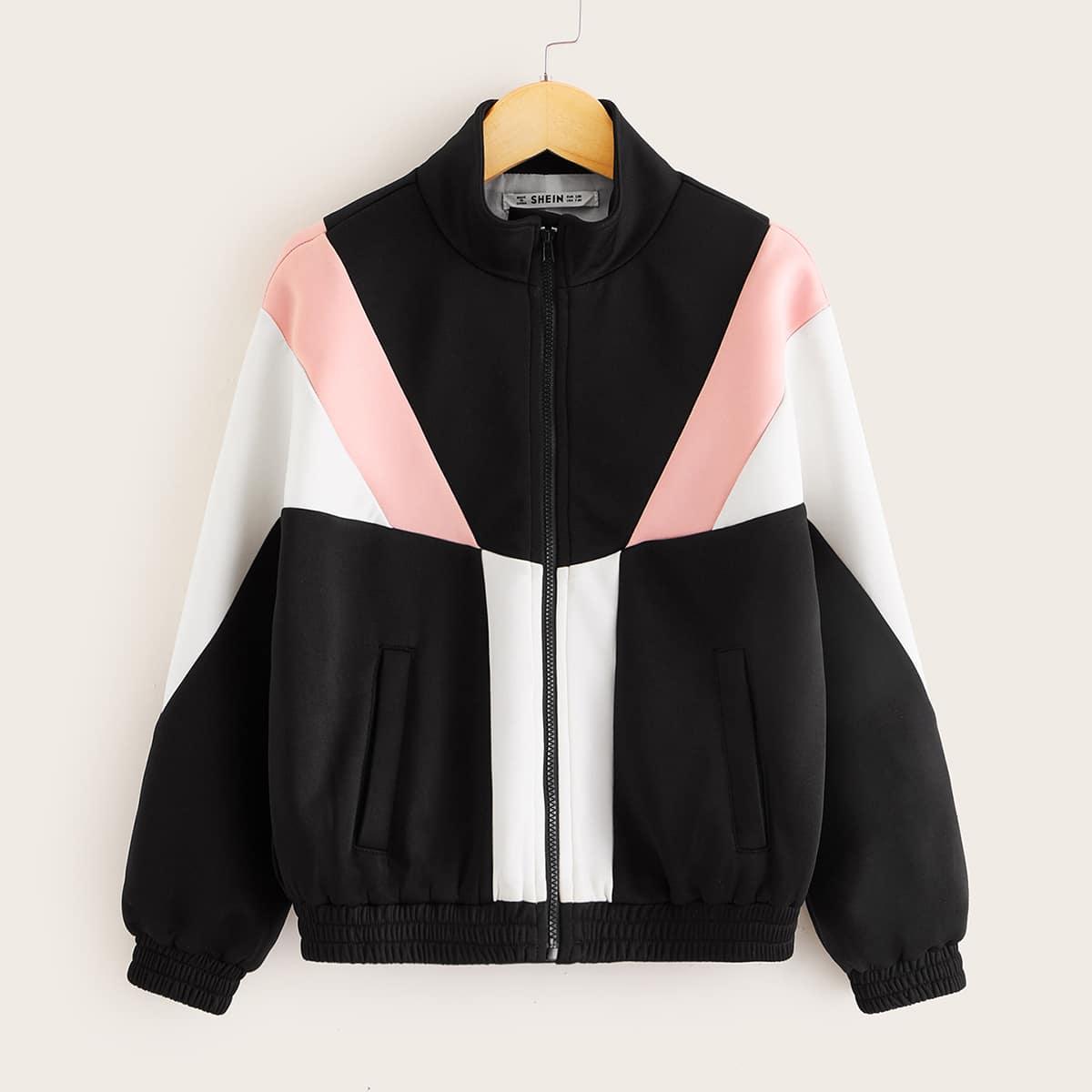 Контрастная куртка с молнией для девочек от SHEIN