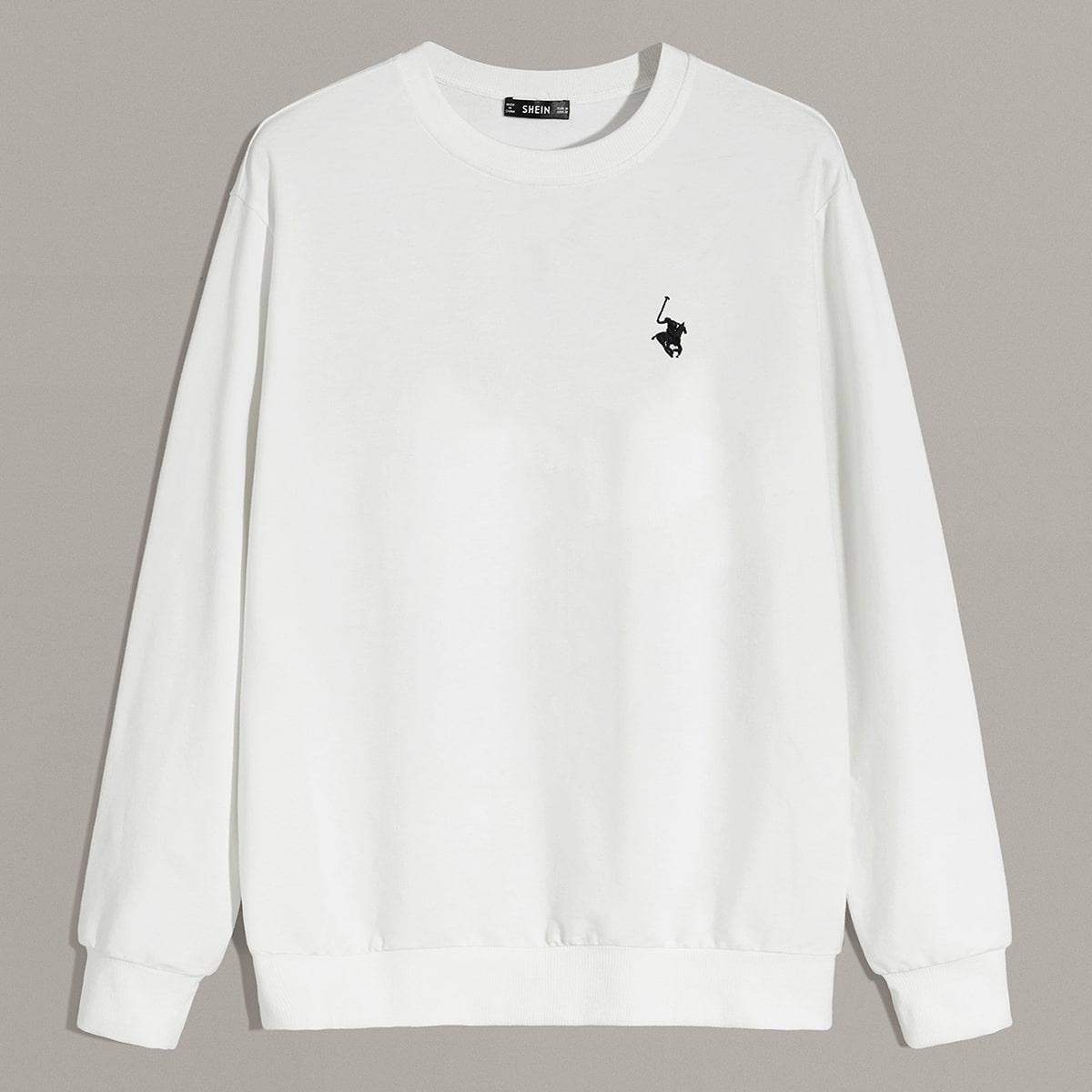 Мужской пуловер с вышивкой от SHEIN